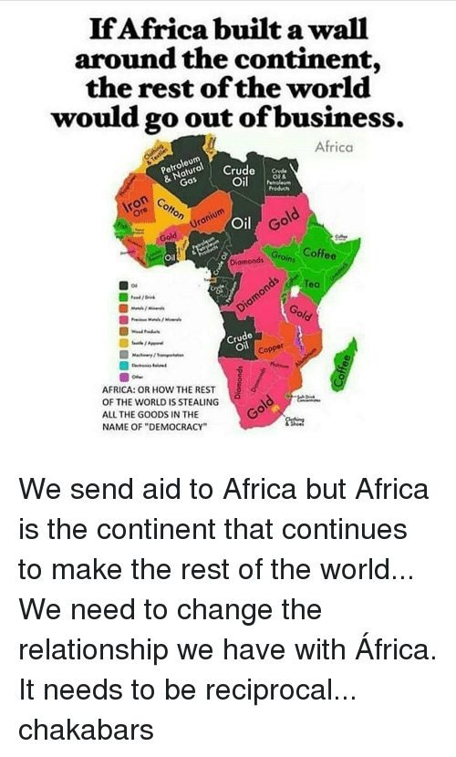 "Memes, 🤖, and Aids: If Africa built a wall  around the continent,  the rest of the world  would go out of business.  Africa  Petroleum  Crude  & Gos  Oil  Petroleum  Cotton S  Gold  Gold  Oil  Diamonds tains  N Coffee  Teo  9 old  de  Oil  Copper  AFRICA: OR HOW THE REST  OF THE WORLD IS STEALING  ALL THE GOODS IN THE  NAME OF ""DEMOCRACY"" We send aid to Africa but Africa is the continent that continues to make the rest of the world... We need to change the relationship we have with África. It needs to be reciprocal... chakabars"