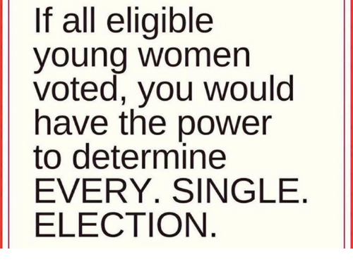 Memes, Power, and Women: If all eligible  young women  voted, you would  have the power  to determine  EVERY. SINGLE  ELECTION