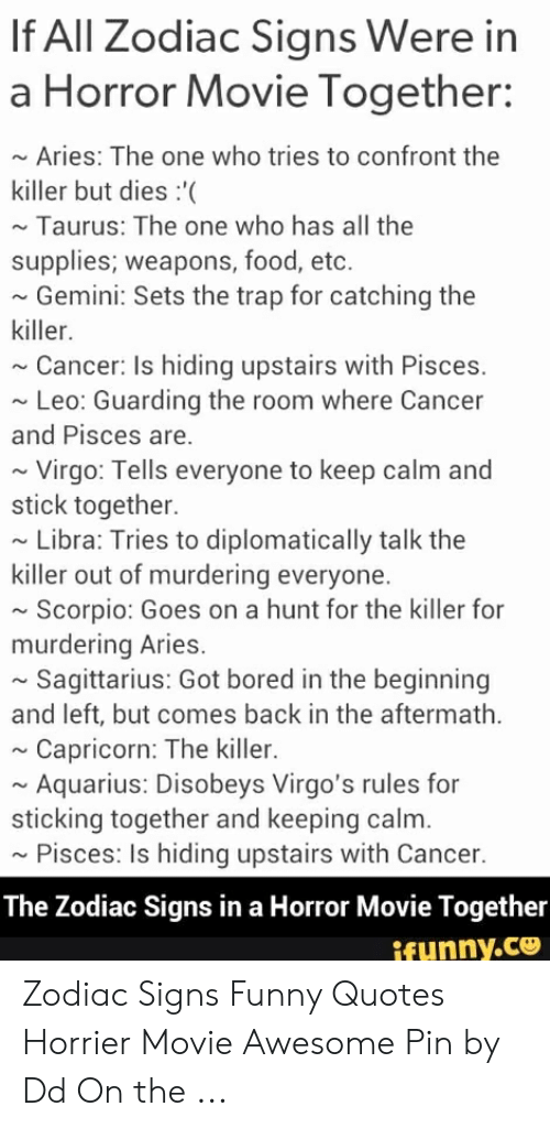 If All Zodiac Signs Were in a Horror Movie Together ~ Aries the One