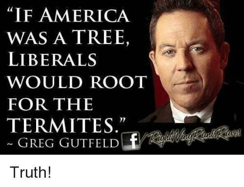 "America, Memes, and Tree: ""IF AMERICA  WAS A TREE,  LIBERALS  WOULD ROOT  FOR THE  TERMITES  GREG GUTFELD Truth!"