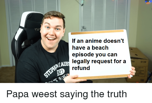 Anime, Beach, and Truth: If an anime doesn't  have a beach  episode you can  legally request for a  $139  AUS  efund
