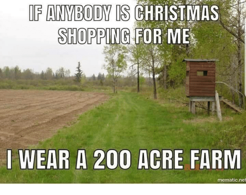 Bailey Jay, Christmas, and Memes: IF ANVBODY IS CHRISTMAS  SHOPPING FOR ME  I WEAR A 200 ACRE FARM  mematic.net