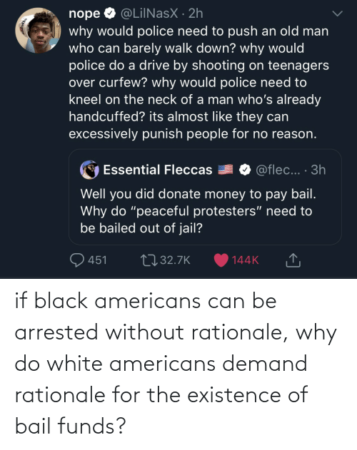 Black, White, and Can: if black americans can be arrested without rationale, why do white americans demand rationale for the existence of bail funds?