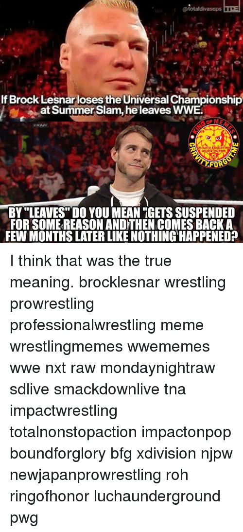 """Meme, Memes, and True: If Brock Lesnar loses the Universal Championship  at Summer Slam, he leaves WWE  N RAW  RAUITM.FORGOTme  BY """"LEAVES DO YOU MEAN """"GETS SUSPENDED  FOR SOME REASON AND THEN COMES BACK A  FEW MONTHS LATER LIKE NOTHING HAPPENED? I think that was the true meaning. brocklesnar wrestling prowrestling professionalwrestling meme wrestlingmemes wwememes wwe nxt raw mondaynightraw sdlive smackdownlive tna impactwrestling totalnonstopaction impactonpop boundforglory bfg xdivision njpw newjapanprowrestling roh ringofhonor luchaunderground pwg"""