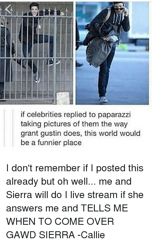 Memes, 🤖, and Sierra: if celebrities replied to paparazzi  taking pictures of them the way  grant gustin does, this world would  be a funnier place I don't remember if I posted this already but oh well... me and Sierra will do I live stream if she answers me and TELLS ME WHEN TO COME OVER GAWD SIERRA -Callie