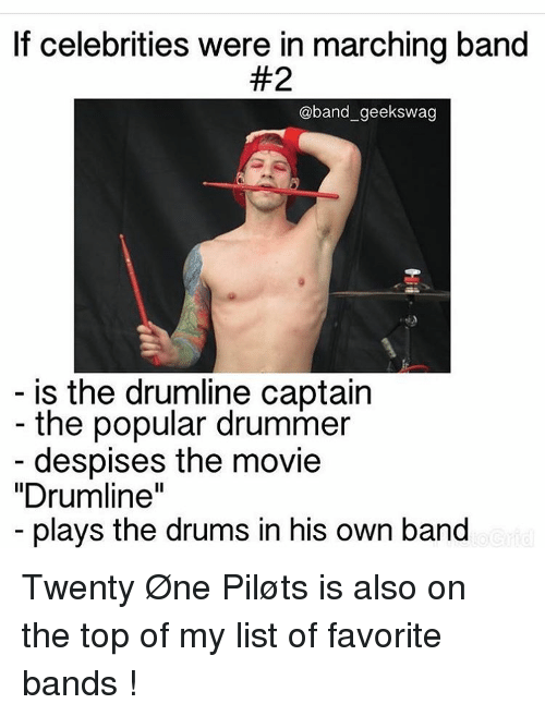 if celebrities were in marching band 2 band geekswag is 11823520 if celebrities were in marching band 2 geekswag is the drumline