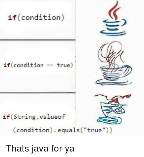 "True, Java, and String: if(condition)  if(condition  true)  ==  if(String.valueof  (condition). equals(""true)) Thats java for ya"