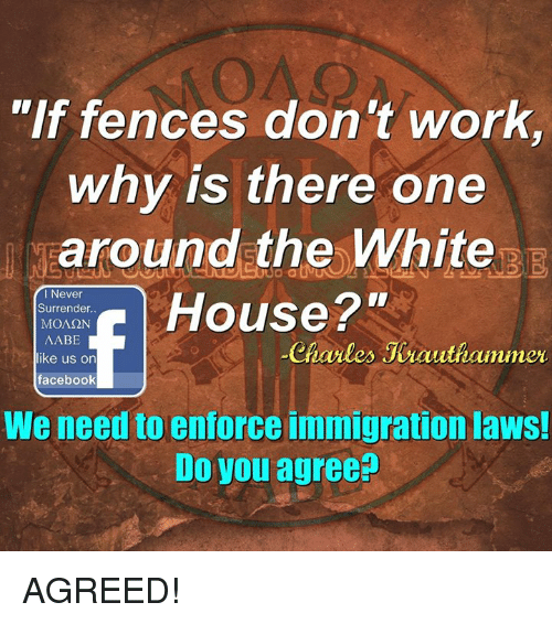 """Memes, Immigration, and 🤖: """"If fences don't work  why is there one  around the White  Surrender.  House 2""""  MONSON  I Never  AABE  like us on  Charles Jeauthammer  facebook  We need to enforce immigration laws!  Do you agree? AGREED!"""