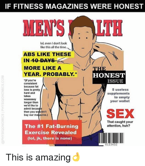 If FITNESS MAGAZINES WERE HONEST MENSLTH Lol Even I Don't Look Like