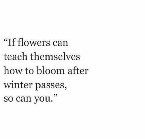 "Winter, Flowers, and How To: ""If flowers can  teach themselves  how to bloom after  winter passes,  so can you."""