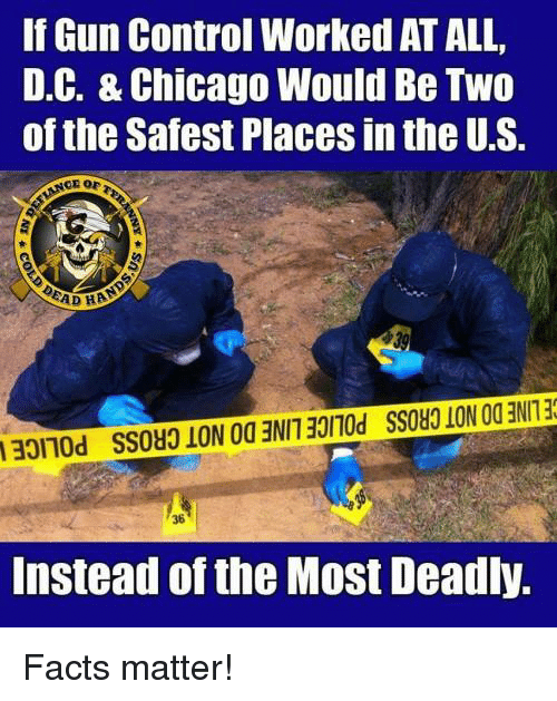 Chicago, Facts, and Memes: If Gun Control Worked AT ALL,  D.C. & Chicago Would Be Two  of the Safest Places in the U.S.  36  Instead of the Most Deadly, Facts matter!