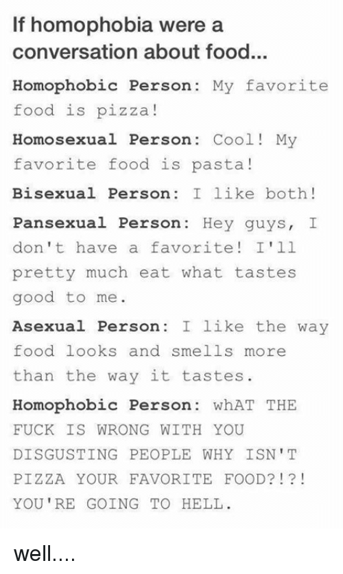 If Homophobia Were a Conversation About Food Homophobic