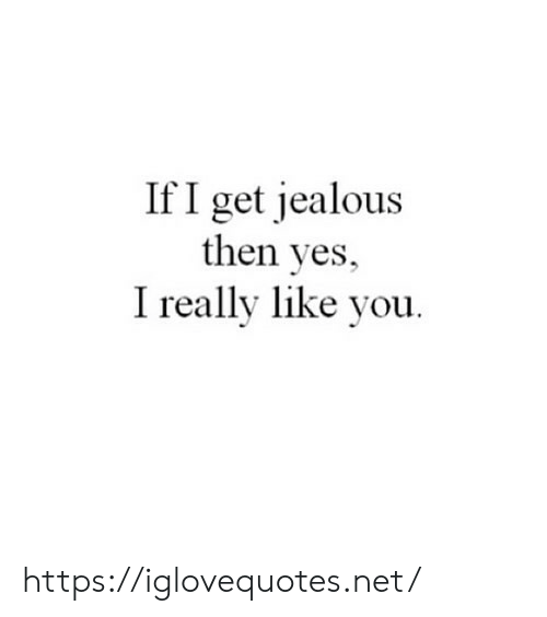 Jealous, Net, and Yes: If I get jealous  then yes,  I really like you. https://iglovequotes.net/