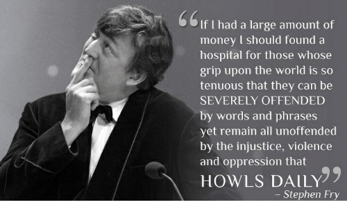 Money, Stephen, and Hospital: If I had a large amount of  money I should found a  hospital for those whose  grip upon the world is so  tenuous that they can be  SEVERELY OFFENDED  by words and phrases  yet remain all unoffended  by the injustice, violence  and oppression that  HOWLS DAILY  - Stephen Fry