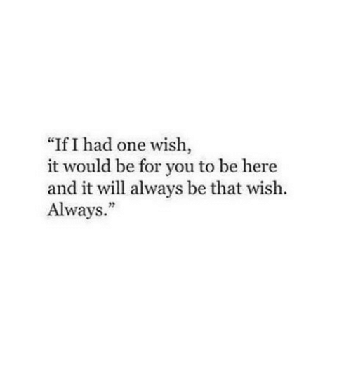 "One, Will, and You: ""If I had one wish,  it would be for you to be here  and it will always be that wish.  Always."""