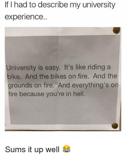 Fire, Experience, and Hell: If I had to describe my university  experience..  University is easy. It's like riding a  bike. And the bikes on fire. And the  grounds on fire. And everything's on  fire because you're in hell Sums it up well 😂