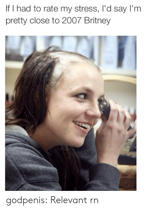 Tumblr, Blog, and Http: If I had to rate my stress, I'd say I'm  pretty close to 2007 Britney godpenis:  Relevant rn