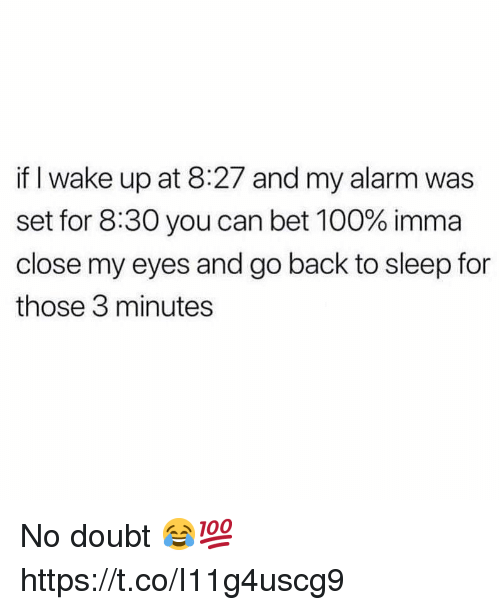 Anaconda, Alarm, and Doubt: if I wake up at 8:27 and my alarm was  set for 8:30 you can bet 100% imma  close my eyes and go back to sleep for  those 3 minutes No doubt 😂💯 https://t.co/I11g4uscg9