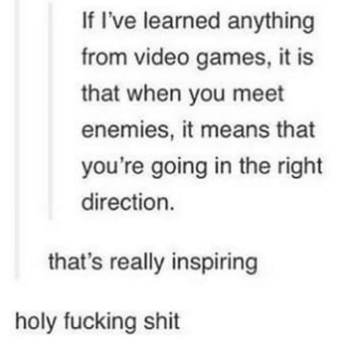 Fucking, Shit, and Video Games: If I've learned anything  from video games, it is  that when you meet  enemies, it means that  you're going in the right  direction.  that's really inspiring  holy fucking shit