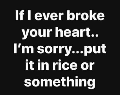 If L Ever Broke Your Heart Im Sorryput It In Rice Or Something