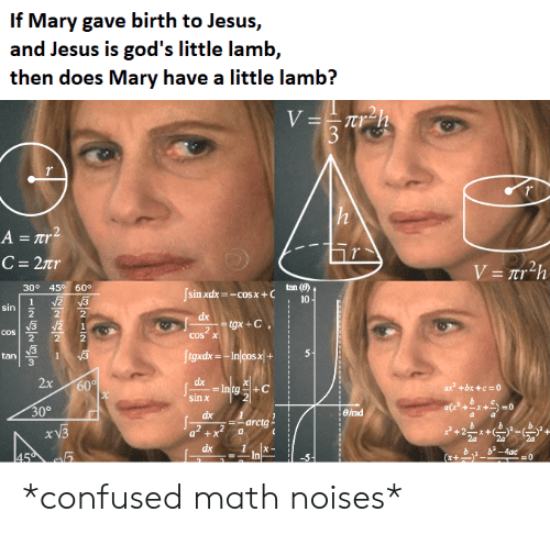 Confused, Jesus, and Math: If Mary gave birth to Jesus,  and Jesus is god's little lamb,  then does Mary have a little lamb?  V=Tr  3  r  h  A = rr2  C = 2Tr  V=nr2h  tan (e)  10  30° 45 60°  sin xdx-cos x+  2 3  2  3  2  1  sin  dx  gx+C  COS  COS X  2  Jigxdx= In/cos>x+  5-  v3  1  ta  60  X  2x  dx  ax +bx+c 0  +C  sin x  30%  erad  dx  arctg  a2+x  2a  2a  2a  dx  ba 4ac  =0  -In  45  x+  ININ *confused math noises*