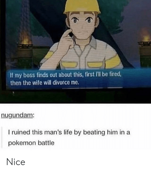 Life, Pokemon, and Divorce: If my boss finds out about this, first Ill be fired  then the wife will divorce me.  nugundam:  I ruined this man's life by beating him in a  pokemon battle Nice
