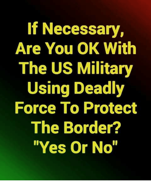 """Memes, Military, and 🤖: If Necessary,  Are You OK With  The US Military  Using Deadly  Force To Protect  The Border?  Yes Or No"""""""
