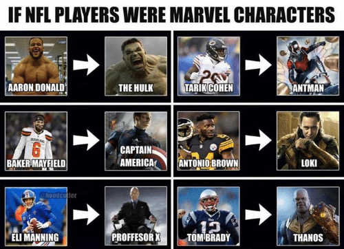 America, Eli Manning, and Nfl: IF NFL PLAYERS WERE MARVEL CHARACTERS  AARON DONALD  THE HULK  TARIK COHEN  ANTMAN  CLEVE  CAPTAIN  AMERICA  LOKI  BAKER MAYFIELD  ANTONIOBROWN  hoodcutler  PROFFESOR X  ELI MANNING  TOMBRADY  THANOS