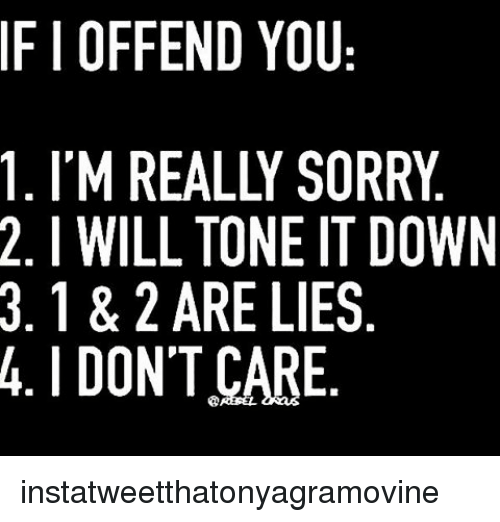 If OFFEND YOU 1 I'M REALLY SORRY 2 I WILL TONE ITDOWN 3 1