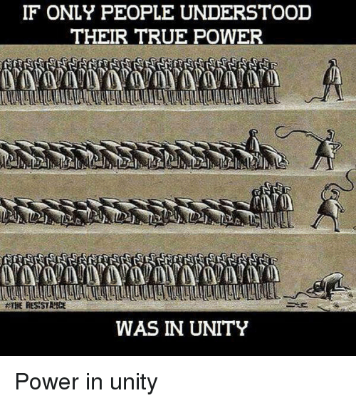 If ONLY PEOPLE UNDERSTOOD THEIR TRUE POWER WAS IN UNITY