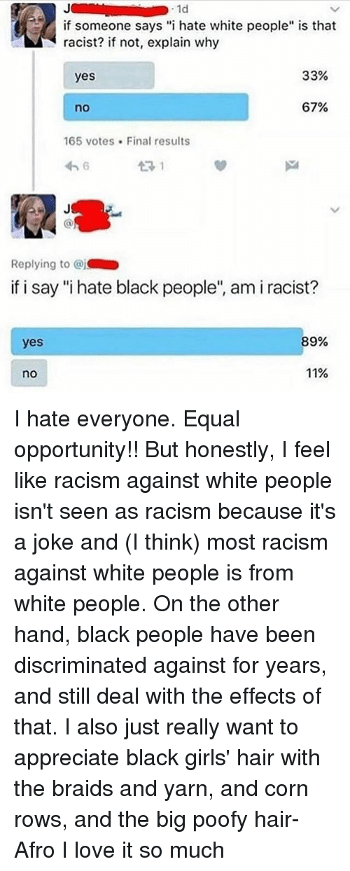 equal opportunity racist dating