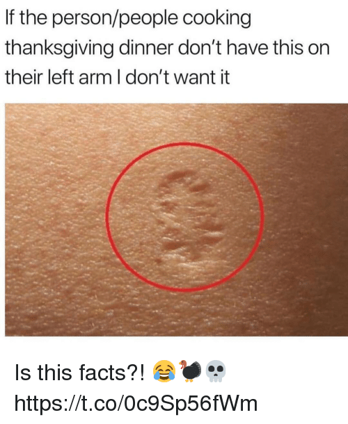 Facts, Memes, and Thanksgiving: If the person/people cooking  thanksgiving dinner don't have this on  their left arm I don't want it Is this facts?! 😂🦃💀 https://t.co/0c9Sp56fWm