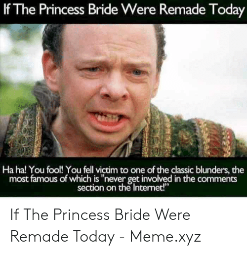 """Internet, Meme, and Princess: If The Princess Bride Were Remade Today  Ha ha! You fool! You fell victim to one of the classic blunders, the  most famous of which is """"never get involved in the comments  section on the Internet!"""" If The Princess Bride Were Remade Today - Meme.xyz"""