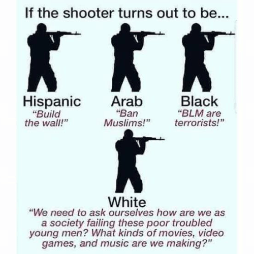 "Memes, Movies, and Music: If the shooter turns out to be...  Hispanic Arab  Black  ""Ban  ""Build  the wall!""  ""BLM are  Muslims!"" errorists!  White  ""We need to ask ourselves how are we as  a society failing these poor troubled  young men? What kinds of movies, video  games, and music are we making?"""