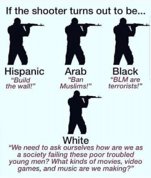 """Movies, Music, and Video Games: If the shooter turns out to be...  Hispanic  """"Build  the wall!""""  Arab  Black  """"BLM are  terrorists!""""  """"Ban  Muslims!""""  White  """"We need to ask ourselves how are we as  a society failing these poor troubled  young men? What kinds of movies, video  games, and music are we making?"""""""