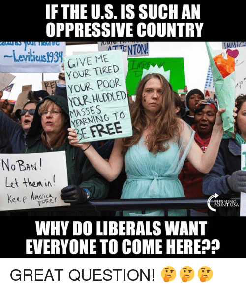 Memes, 🤖, and Why: IF THE U.S. IS SUCHAN  OPPRESSIVE COUNTRY  -Leviticusl93. ur. MEATTENTON!  TMMIL  GIVE MEENTON  YOUR TIRED  YOUR POOR  MASSES  YEARNING TO  SEFREE  NOBAN  Let then in  WHY DO LIBERALS WANT  EVERYONE TO COME HEREP GREAT QUESTION! 🤔🤔🤔