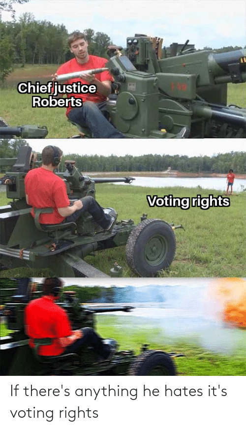Voting, Anything, and  Hates: If there's anything he hates it's voting rights