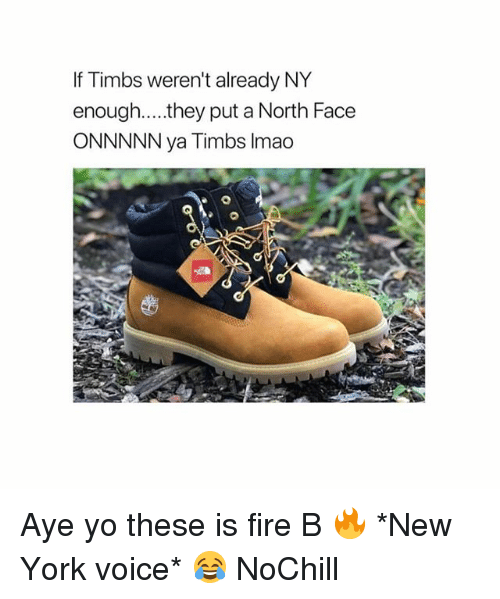 Fire, Funny, and New York: If Timbs weren't already NY  enough....they put a North Face  ONNNNN ya Timbs Imao Aye yo these is fire B 🔥 *New York voice* 😂 NoChill