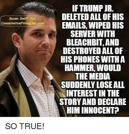 Memes, True, and Trump: IF TRUMP JR.  DELETED ALL OF HIS  EMAILS, WIPED HIS  SERVER WITH  BLEACHBIT, AND  DESTROYED ALL OF  HIS PHONES WITHA  HAMMER, WOULD  THE MEDIA  SUDDENLY LOSEALL  INTEREST IN THE  STORY AND DECLARE  HIM INNOCENT?  Susan.Swift for  ConservativeFiringLine.com SO TRUE!