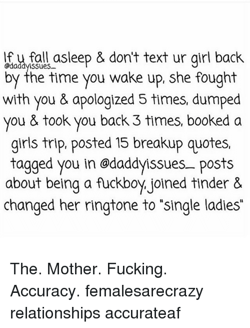 If U Fall Asleep Dont Text Ur Girl Back Ssues Up She Fought By