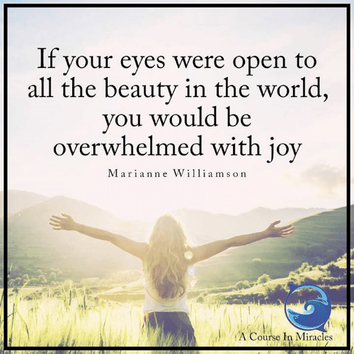 Memes, World, and Miracles: If vour eyes were open to  all the beauty in the world,  you would be  overwhelmed with joy  Marian ne W  il liams on  ACourse I Miracles