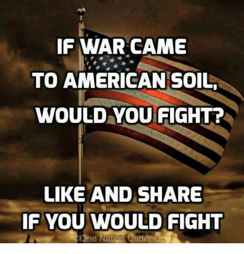 Memes, American, and Fight: IF WAR CAME  TO AMERICAN SOIL  WOULD YOU FIGHT?  LIKE AND SHARE  IF YOU WOULD FIGHT  ne Nation Under Go
