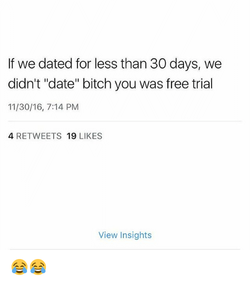 "Bitch, Memes, and Date: If we dated for less than 30 days, we  didn't ""date"" bitch you was free trial  11/30/16, 7:14 PM  4 RETWEETS 19 LIKES  View Insights 😂😂"