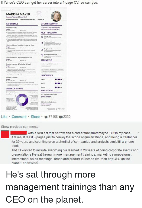 If Yahoo S Ceo Can Get Her Career Into A 1 Page Cv So Can