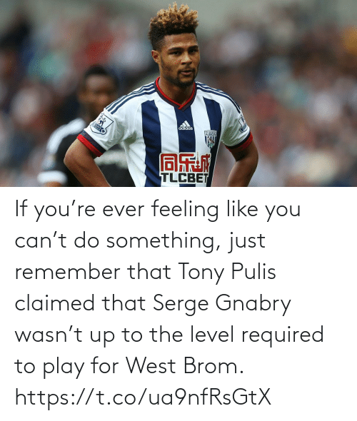 Soccer, Can, and Play: If you're ever feeling like you can't do something, just remember that Tony Pulis claimed that Serge Gnabry wasn't up to the level required to play for West Brom. https://t.co/ua9nfRsGtX