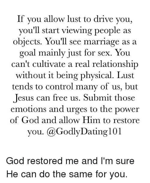 god restores dating relationships