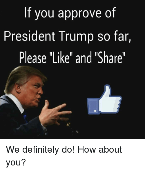 "Definitely, Trump, and How: If you approve of  President Trump so far,  Please ""Like"" and ""Share"" We definitely do! How about you?"