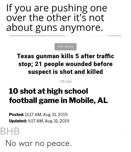 If You Are Pushing One Over the Other It's Not About Guns