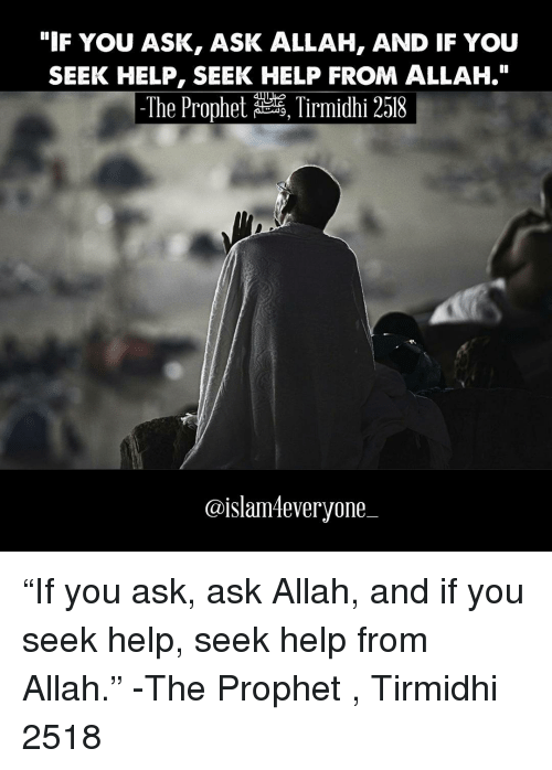 "Memes, The Prophet, and 🤖: ""IF YOU ASK, ASK ALLAH, AND IF YOU  SEEK HELP, SEEK HELP FROM ALLAH.""  The Prophet  Tirmidhi 2518  @islamleveryone ""If you ask, ask Allah, and if you seek help, seek help from Allah."" -The Prophet ﷺ, Tirmidhi 2518"