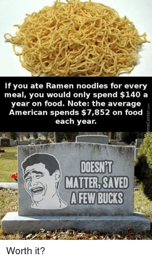 if you ate ramen noodles for every meal you would 6290346 ✅ 25 best memes about ramen noodle ramen noodle memes,Noodle Memes